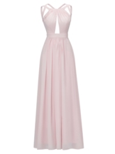 A-Line Halter Draped Split-Front Ankle-Length Evening Dress