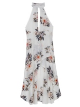 Vacation Halter Floral Print Asymmetric Women's Maxi Dress