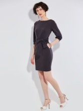 Plain A-Line Knee-Length Lace-Up Women's Sheath Dress