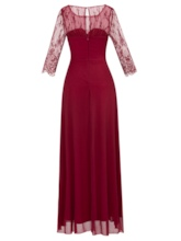 Scoop Neck Half Sleeves Lace Evening Dress