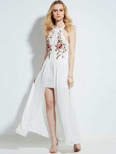 Halter Floral Embroidery Women's Maxi Dress