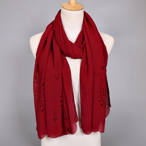 Plain Hollow Plant Chiffon Scarfs