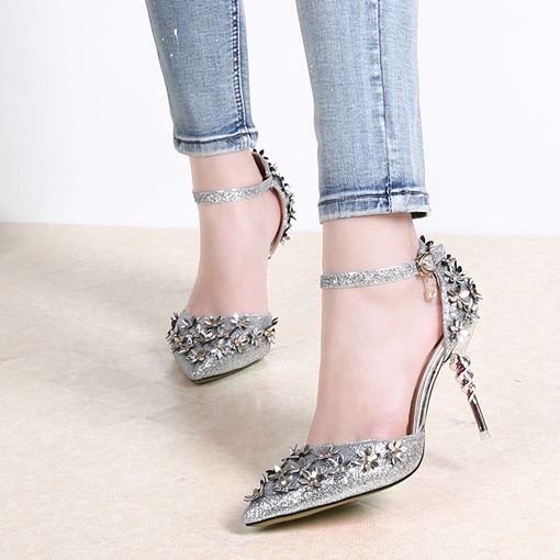 3D Floral Pointed Stiletto Heel Women's Pumps
