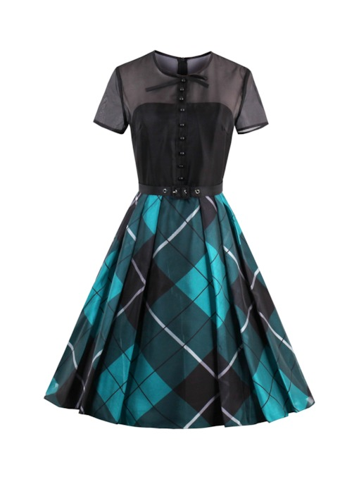 Plaid Mesh Patchwork Women's Day Dress