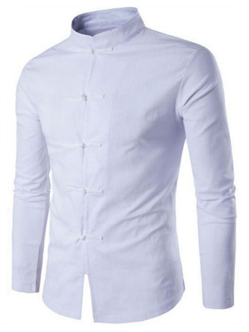 Chemise Homme Slim en Couleur Unie Style Chinois