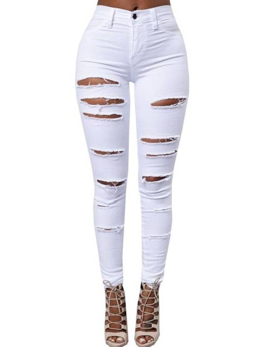 Plain High-Waist Skinny Hole Patchwork Women's Jeans