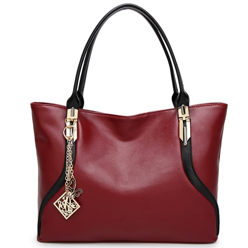 Contracted Color Block PU Women Tote Bag