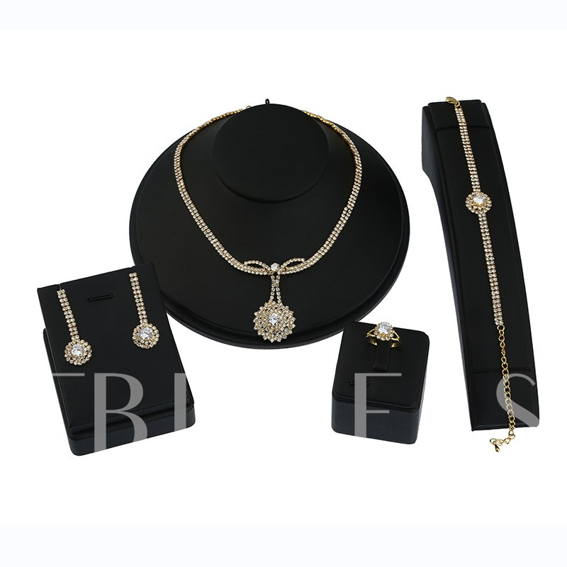 Full Drill Sunflower Alloy Four Piece Jewelry Sets