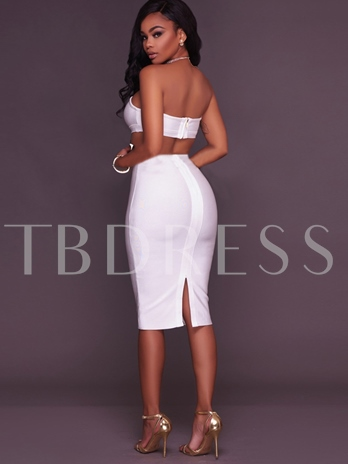 Boat Neck Backless Knee-Length Women's Bodycon Suit