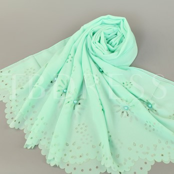 Hollow Plant Pearl Inlaid Chiffon Kerchief