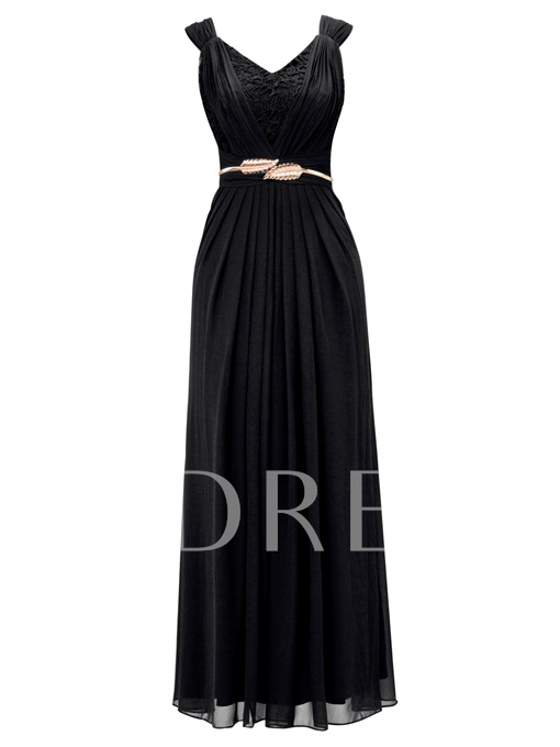 V-Neck Lace Pleated Chiffon A-Line Evening Dress