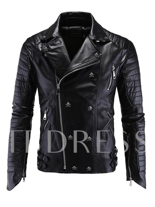 Skull Rivet Punk Zipper Vogue Slim Men's Biker Jacket