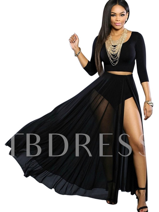 Plain Round Neck Mesh See-Through Women's Skirt Suit