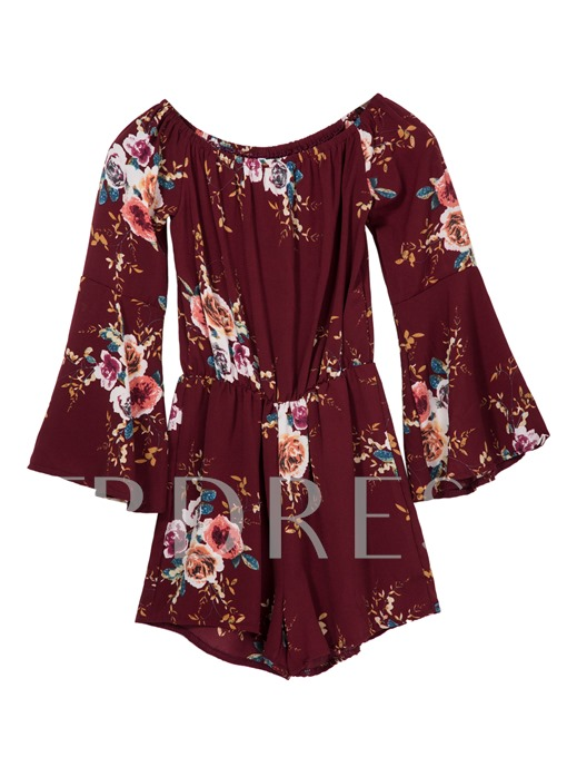 Slim Pleated Bell Sleeve Flower Print Women's Vacation Jumpsuit