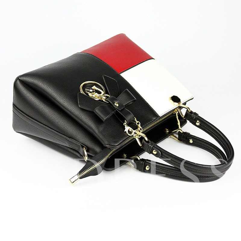 Charming Style Color Block PU Tote Bag