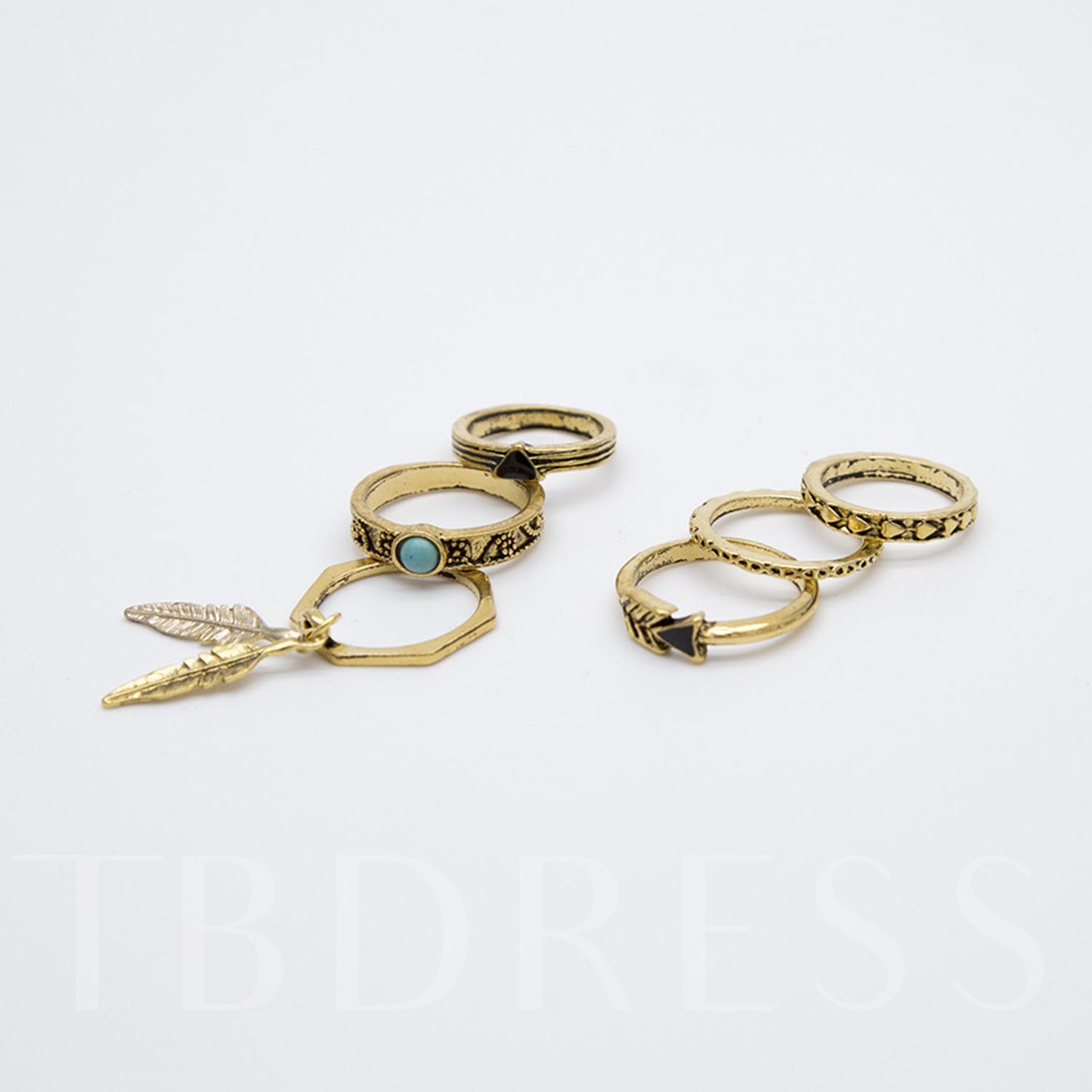 Plastic Leaf Shaped Rings Set