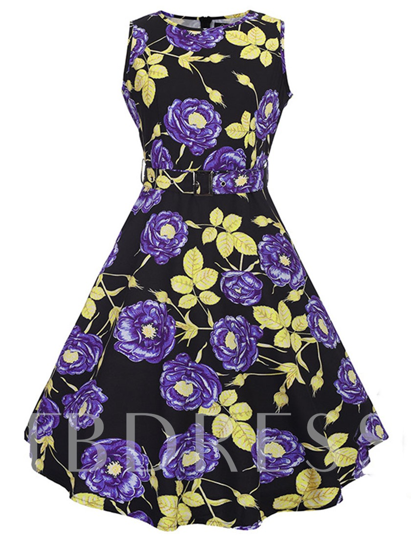 Printing Buckled Women's Day Dress