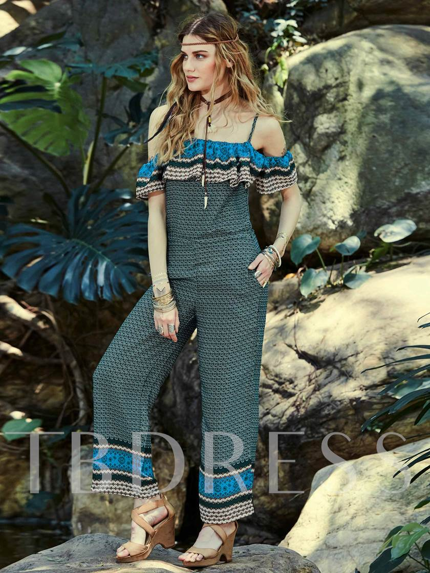 Geometric Pattern Falbala Patchwork Women's Jumpsuit