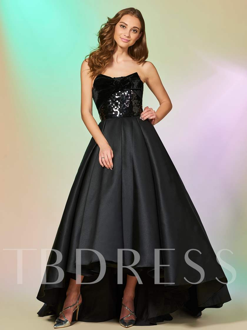 Strapless Bowknot Sequins Asymmetry Prom Dress