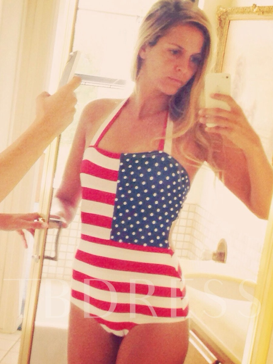 Sexy Lace-Up American Flag One Piece Swimsuit