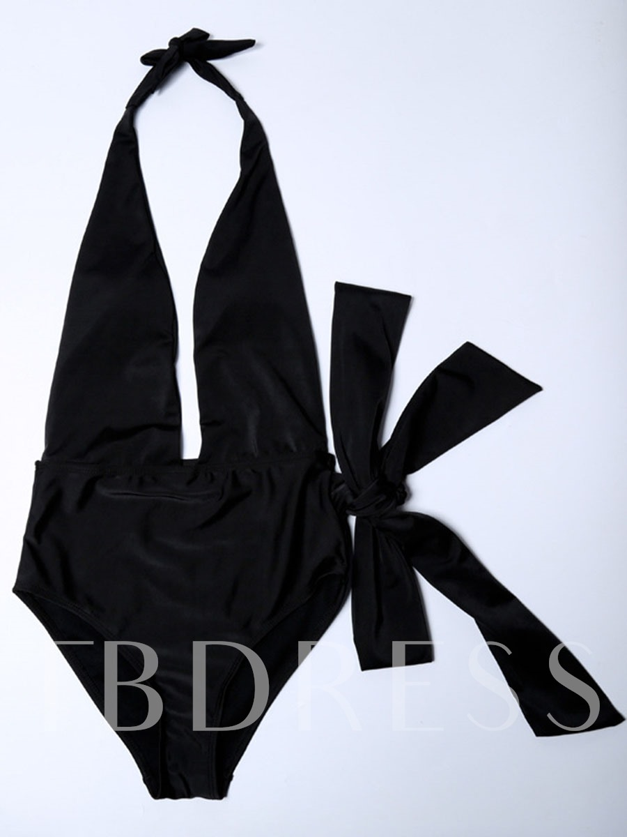 Sexy Deep V-Neck Backless One Piece Swimsuit
