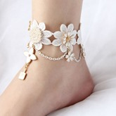 Artificial Pearl Rhinestone Alloy Flower Anklet