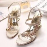 Hollow Wedge Heel Rhinestone PU Open Toe Buckle Women's Sandals
