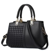Vogue Style Color Block Woven Tote Bag