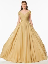 A-Line V-Neck Beaded Ruched Long Prom Dress
