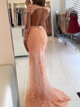 Mermaid Scoop Sleeveless Appliques Beading Lace Brush Train Evening Dress