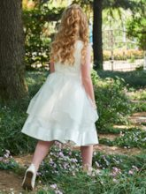 Beading Knee-Length Lace Flower Girl Dress