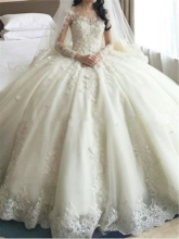 Long Sleeve Appliques Cathedral Train Wedding Dress
