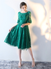 A-Line Scoop Lace Short Sleeves Knee-Length Homecoming Dress