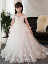 Short Sleeves Flowers Beading Ball Gown Flower Girl Dress
