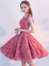 A-Line Sashes Cap Sleeves Rhinestone Homecoming Dress