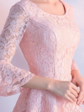Scoop Lace 3/4 Length Sleeves Knee-Length Homecoming Dress