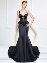 Trumpet Sweetheart Ruffles Rhinestone Evening Dress