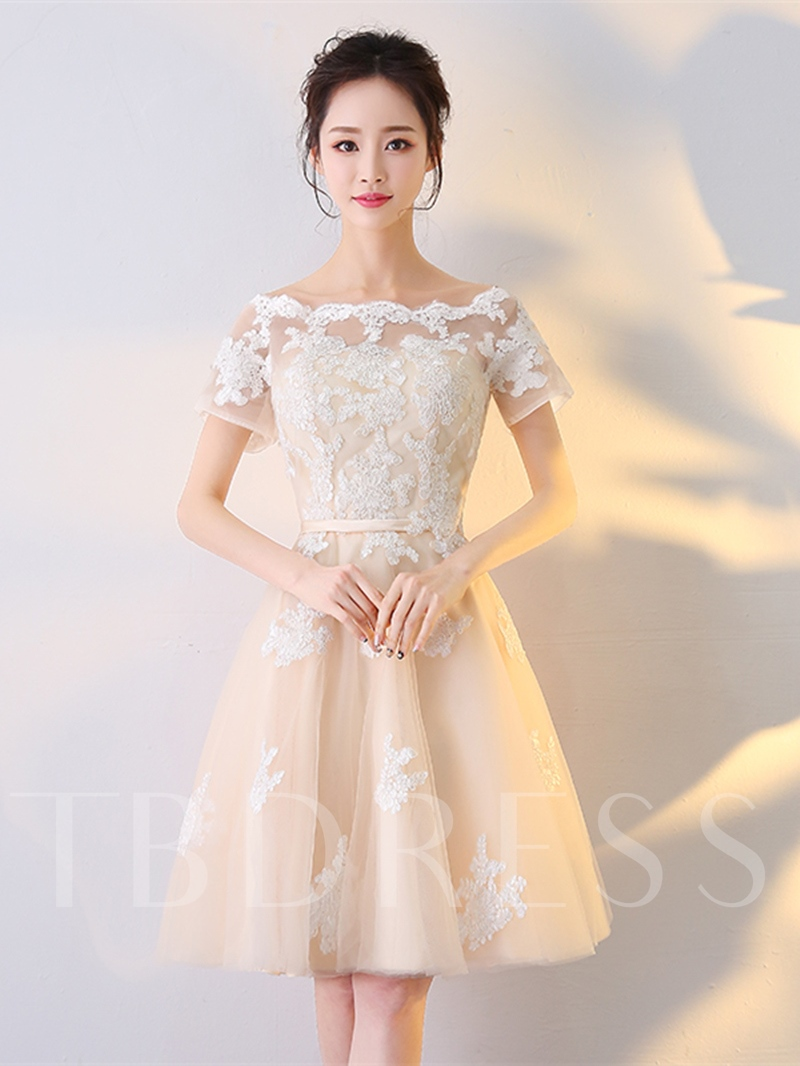 Image of A-Line Appliques Short Sleeves Sashes Off-the-Shoulder Knee-Length Homecoming Dress