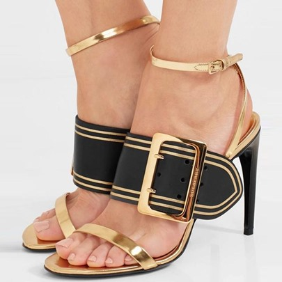 Color Block Hasp Heel Sandals Metallic Shoes
