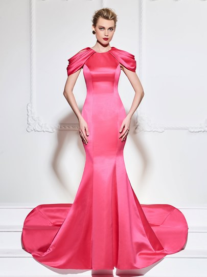 Jewel Mermaid Draped Cap Sleeves Court Train Evening Dress