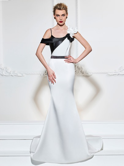 Spaghetti Straps Mermaid Flowers Sashes Brush Train Evening Dress