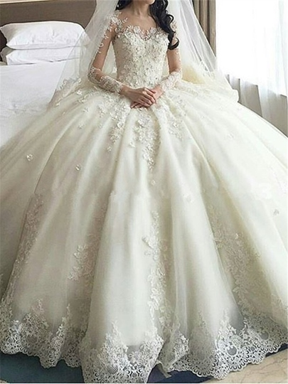 Long Sleeve Appliques Cathedral Train Wedding Dress Long Sleeve Appliques Cathedral Train Wedding Dress