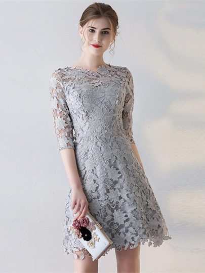 Jewel A-Line Lace Half Sleeves Mini Homecoming Dress