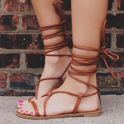 Open Toe Lace-Up Flat Sandals