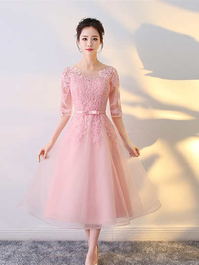 A-Line Appliques Scoop Bowknot Sashes Tea-Length Prom Dress