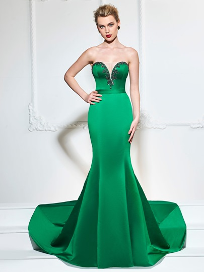 Sweetheart Trumpet Beaded Sashes Evening Dress