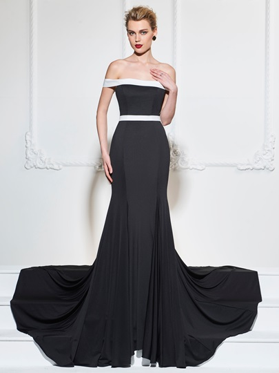 Off-the-Shoulder Sashes Sleeveless Trumpet Court Train Evening Dress