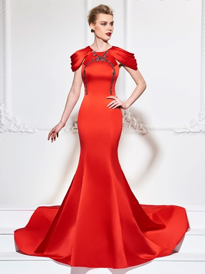 Scoop Trumpet Appliques Beadings Cap Sleeves Court Train Evening Dress