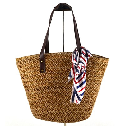 Vintage Silk Scarves Decoration Straw Bag