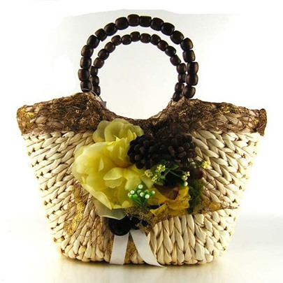 Beach Wind Floral Decoration Straw Bag